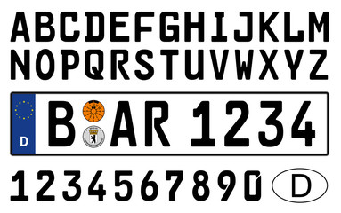 germany, car plate symbols, numbers and letters