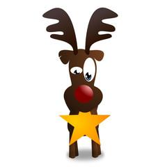 Rentier zu Weihnachten mit Stern