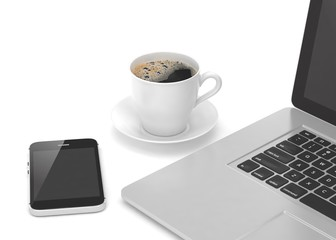 Laptop smartphone and coffee cup on white. 3d rendering.