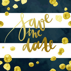 Tony wedding invitation vector template with hand written calligraphy elements and glittering gold blots on deep blue and white striped background.