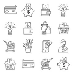 Vector set of business and finance Bank Internet shopping Payments