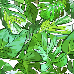 Tropical green palm tree leaves. Vector summer seamless pattern. Hand drawn tropical leaves background. Abstract design for fabric, textile print, wrapping paper or web backgrounds.