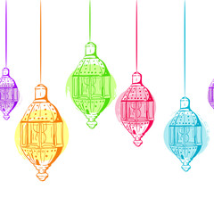 Vector seamless horizontal background with outline lanterns. Design for muslim ramadan kareem holiday decoration, banner, card, background. Multicolor isolated lanterns.