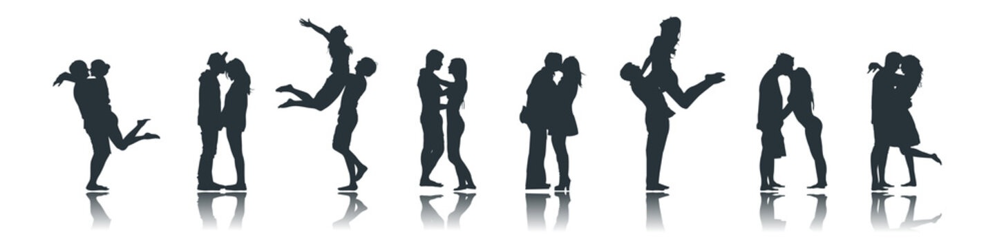 Silhouettes of Romantic Loving Couples