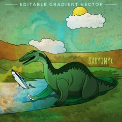 Dinosaur in the habitat. Vector Illustration Of Baryonyx