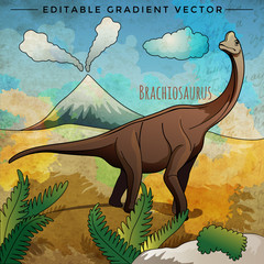 Photo sur Plexiglas Dinosaurs Dinosaur in the habitat. Vector Illustration Of Brachiosaur