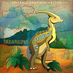 Dinosaur in the habitat. Vector Illustration Of Parasauroloph