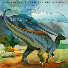 Dinosaur in the habitat. Vector Illustration Of Plateosaur