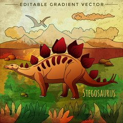 Dinosaur in the habitat. Vector Illustration Of Stegosaur