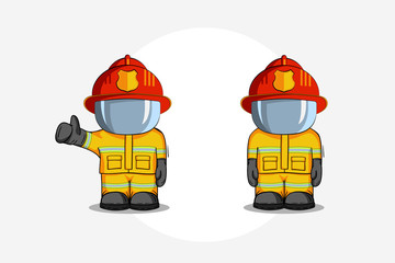 Vector hand drawn illustration. Two Isolated character firefighter in protective suit stands and raises his finger up. Smoke on a blue background.
