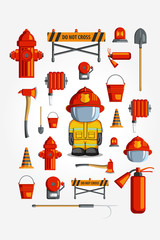 Vector Colorful vintage flat icon set. illustration for infographic. Firefighter Equipment and volunteer emblem.