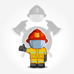 Vector hand drawn illustration. Isolated character firefighter in protective suit stands and raises his finger up. Smoke on a blue background.