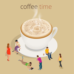 Coffee time or coffee break. Group People Chatting Interaction Socializing Concept