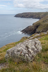 on the coast past near botallack in cornwall england uk