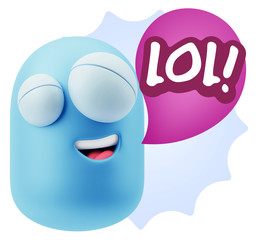 3d Illustration Laughing Character Emoji Expression saying Lol w