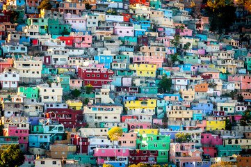 Colourful buildings mountainside