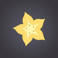 Carambola, star fruit slice on a black background