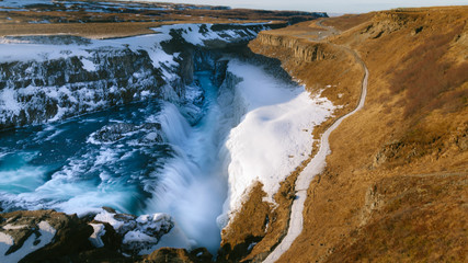 High angle view of waterfall in Iceland
