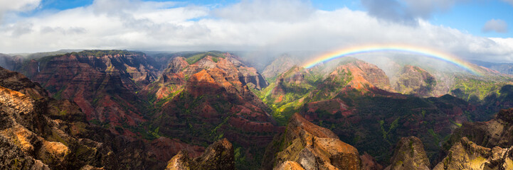 Waimea Canyon Rainbow Panoramic, Kauai, Hawaii Fotoväggar