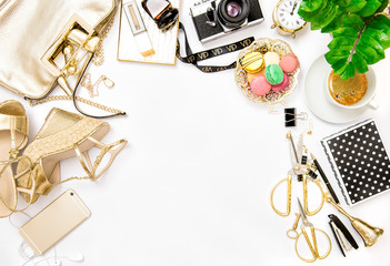 Fashion flat lay bloggers social media. Accessories bag shoes of