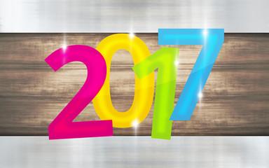 2017 metallic wooden background new year design