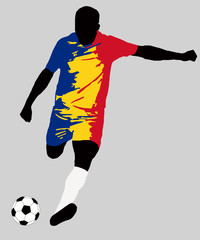 UEFA Euro 2016 vector illustration of football player run hit ball. Group A participant. Soccer team player in uniform with Romania state national flag original colors. Flat graphic design clip art