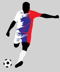 UEFA Euro 2016 vector illustration of football player run hit ball. Group B participant. Soccer team player in uniform with Russia state national flag original colors. Flat graphic design clip art