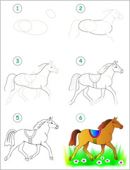 Page shows how to learn step by step to draw a horse. Developing children skills for drawing and coloring. Vector image.