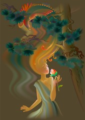 Beautiful women smells the flower, vector cartoon image.