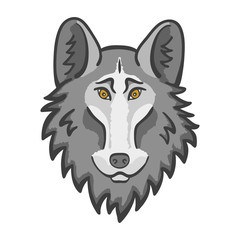 Wolf head mascot. Good cartoon wolf