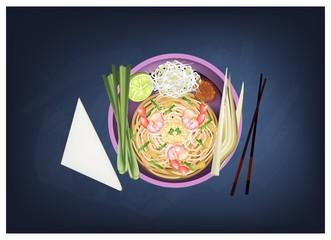 Pad Thai or Stir Fried Noodles with Prawns on Chalkboard