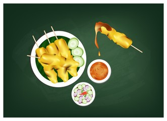 Satay or Meat Barbecue Served with Peanut Sauce on Chalkboard