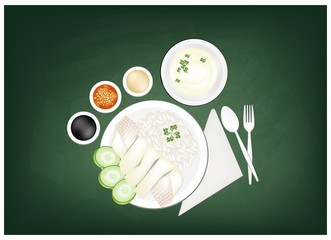 Hainanese Chicken Rice on A Green Chalkboard