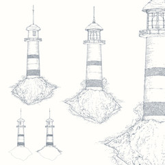 Lighthouse, night beacon, isolated on white. Black and white ink realistic sketch, hand drawn vector illustration, engraving style. Nautical concept design, sea storm.