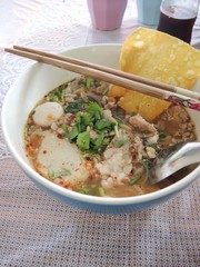 Noodles in soup of asia style
