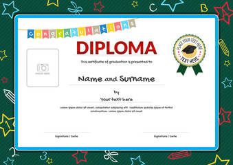 Colorful diploma certificate for kids on green chalk board with photo space