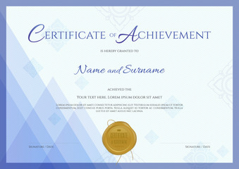 Certificate of achievement template with blue modern theme with applied Thai line background