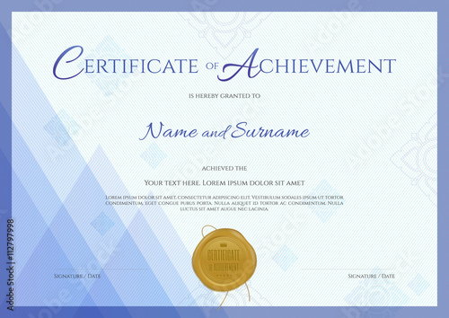 Certificate of achievement template with blue modern theme with ...