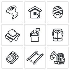 Vector Set of Emergency Service Icons. Hurricane, Earthquake, Victim, Homeless, President, Lifeguard, Financing, Evacuation, Analysis dam.
