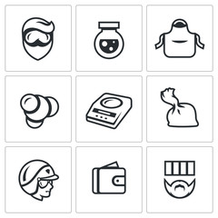 Vector Set of Drug Dealer Labs Icons. Laboratory, methamphetamine, manufacture, synthesis, dosage, dose, police, selling, sentence.