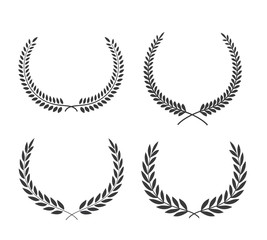Crest logo element set,Set of award laurel wreaths and branches,vector illustration.