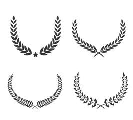 Crest logo element set,Set of award laurel wreaths and branches,vector illustration.