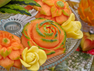 Fruit carving food sculpture art