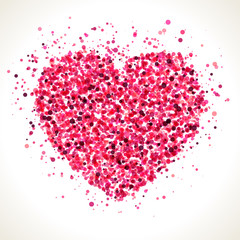 Red pink heart shape dots illustration.