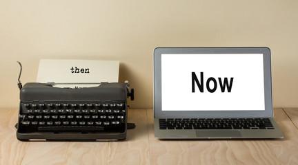 vintage typewriter and computer laptop