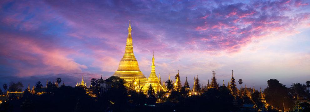 Shwedagon pagoda in the morning, Yangon Myanmar