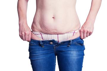 Fat womann trying wear jeans