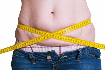 fat woman measuring her waist