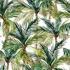 Watercolor palm tree seamless pattern