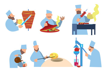 Arabic food. Shawarma, shish kebab, lozenges. Vector illustration. Arabian chef.